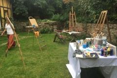 Mal-Session in Nachbars Garten